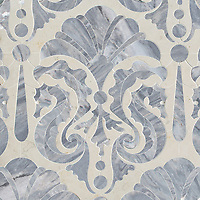 Caroushell, a waterjet stone mosaic, shown in polished polished Argent Blue and Bianco Antico, is part of the Kiddo collection by Cean Irminger for New Ravenna.
