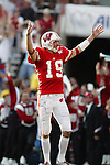 Madison, Wisconsin - 9/6/2003.  University of Wisconsin quarterback Jim Sorgi (19) celebrates after throwing a 99 yard touch down reception to Lee Evans during the University of Akron football game at Camp Randall. Evans had 9 catches for 214 yards. Wisconsin beat Akron 48-31. (Photo by David Stluka).