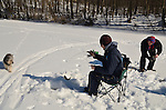 Pocantico Lake Winter - ice fish, XC ski - Feb'15