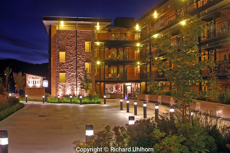 This image was taken after sunset when the sky was still visible. Photographed for the owner of Chelan Resort Suites, this image is used on the corporations website and in print materials.
