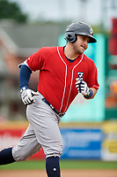 New Hampshire Fisher Cats left fielder Connor Panas (15) rounds the bases after hitting a home run in the top of the second inning during a game against the Erie SeaWolves on June 20, 2018 at UPMC Park in Erie, Pennsylvania.  New Hampshire defeated Erie 10-9.  (Mike Janes/Four Seam Images)