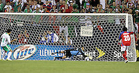 Costa Rican goalkeeper Keilor Naves saves a penalty kick in the second half.  Mexico defeated Costa Rica 2-1 on penalty kicks in the semifinals of the Gold Cup at Soldier Field in Chicago, IL on July 23, 2009.