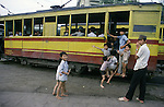 Cable cars that the French built  are stilled used as transortation in Hanoi, North Vietnam.  (Jim Bryant Photo)......