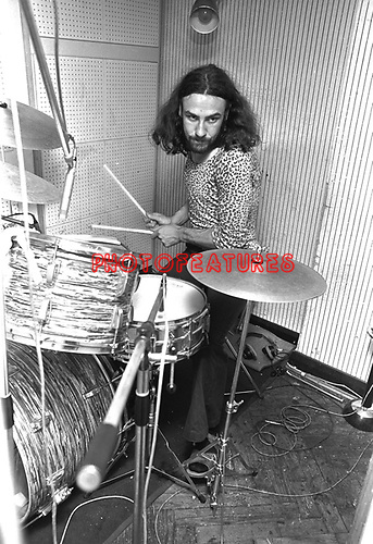 Black Sabbath 1970 Bill Ward at Regents Sounds during Paranoid sessions<br /> &copy; Chris Walter