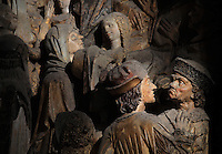 People in the crowd listening to St Firmin preaching, Gothic style polychrome high-relief sculpture from the South side of the choir screen, 1490-1530, commissioned by canon Adrien de Henencourt, depicting the life of St Firmin, at the Basilique Cathedrale Notre-Dame d'Amiens or Cathedral Basilica of Our Lady of Amiens, built 1220-70 in Gothic style, Amiens, Picardy, France. St Firmin, 272-303 AD, was the first bishop of Amiens. Amiens Cathedral was listed as a UNESCO World Heritage Site in 1981. Picture by Manuel Cohen