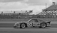 The #50 Rousch Ford Mustang of Bill Elliott, Ricky Rudd, Kyle Petty and Ken Schraeder races to a 40th place finsih in the 24 Hours of Daytona, Daytona International Speedway, Daytona Beach, FL, February 2, 1986.  (Photo by Brian Cleary/www.bcpix.com)