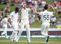 30th November 2019, Hamilton, New Zealand;  Stuart Broad celebrates the wicket of Mitchell with Ben Stokes on day 2 of 2nd test match between New Zealand and England,  International Cricket at Seddon Park, Hamilton, New Zealand.  - Editorial Use