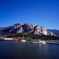 Squamish, BC, British Columbia, Canada - View across Mamquam Blind Channel to Stawamus Chief (Rock Climbing Mountain) in Stawamus Chief Provincial Park (Coast Mountains), Summer