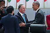 "United States President Barack Obama left, shakes hands with John Key, New Zealand's prime minister, during an opening plenary entitled ""National Actions to Enhance Nuclear Security"" at the Nuclear Security Summit in Washington, D.C., U.S., on Friday, April 1, 2016. After a spate of terrorist attacks from Europe to Africa, Obama is rallying international support during the summit for an effort to keep Islamic State and similar groups from obtaining nuclear material and other weapons of mass destruction. <br /> Credit: Andrew Harrer / Pool via CNP"