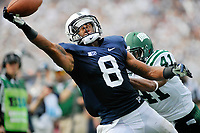 Penn State WR Allen Robinson (8) almost makes a one-handed catch in the end zone for a touchdown during the 3rd quarter, but can't pull it in while defended by Ohio CB Ian Wells (41).  The Ohio Bobcats defeated the Penn State Nittany Lions 24-14 at Beaver Stadium in State College, PA..