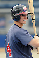 July 15, 2009: Outfielder Cory Harrilchak (4) of the Danville Braves, rookie Appalachian League affiliate of the Atlanta Braves, before a game at Dan Daniel Memorial Park in Danville, Va. Photo by:  Tom Priddy/Four Seam Images