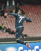 Gol  Esultanza  Jose Callejon   durante l'incontro  di calco d Seriden A  tra SSC Napoli e US Palermo    allo stadio San Paolo di Napoli , 24 Settembre  2014