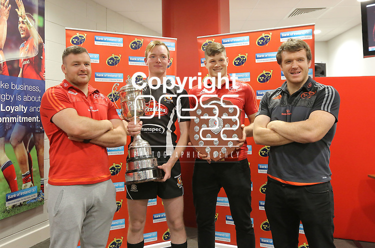 Bank of Ireland Munster U18 &amp; U16 Clubs Competition Launch &amp; Schools Cup First Round Draw in Thomond Park Limerick were:<br /> Munster Dave Kilcoyne, Jason Woulfe, Captain Newcastle West RFC Defending U18, Munster Jack O'Donoghue &amp; Mike Sherry<br /> Picture Credit Brian Gavin Press 22