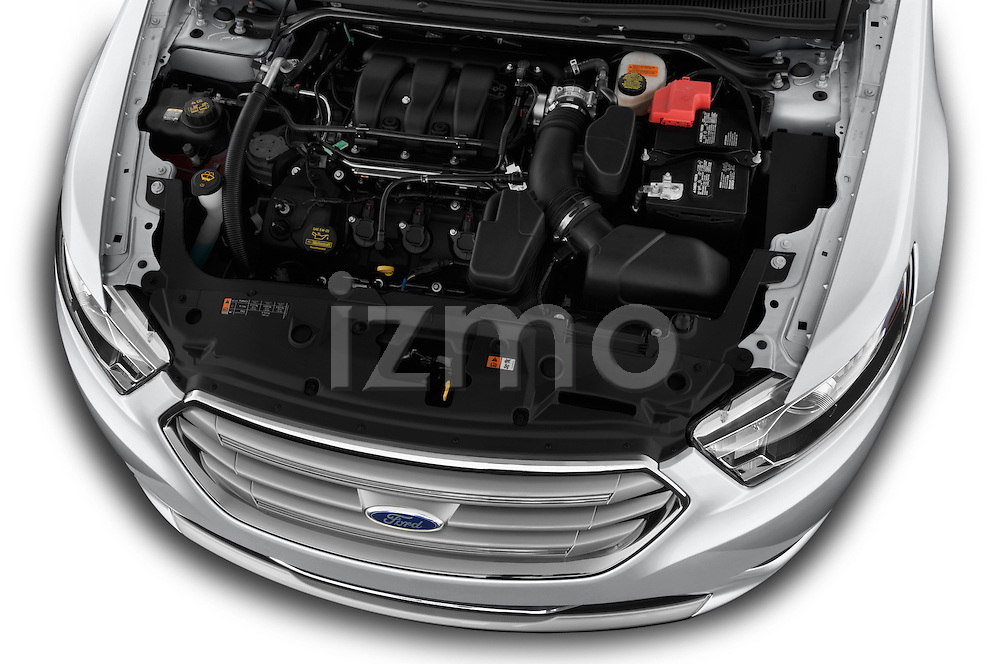 High angle engine detail of a 2013 Ford Taurus LTD