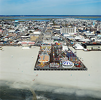 Wildwood, NJ Amusement Pier. Airview of the boardwalk and motels.