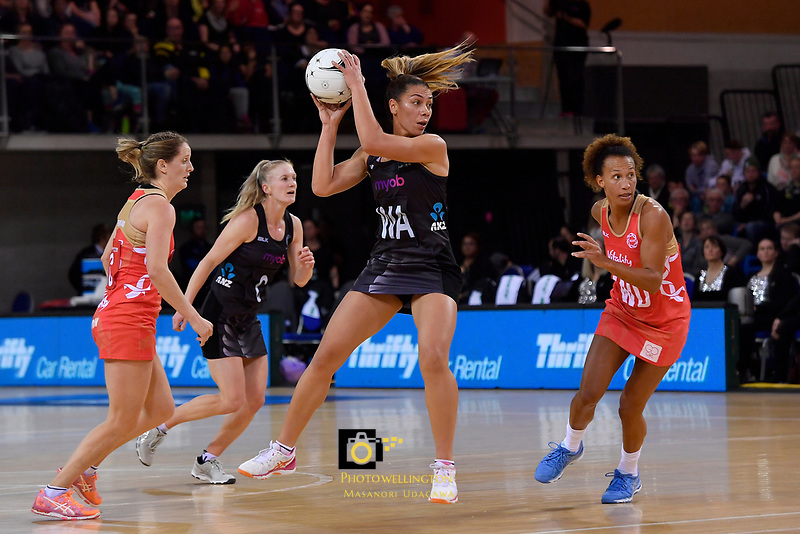 Silver Ferns' Grace Rasmussen in action during the International Netball - NZ Silver Ferns v England Roses at Te Rauparaha Arena, Porirua, New Zealand on Thursday 7 September 2017.<br /> Photo by Masanori Udagawa. <br /> www.photowellington.photoshelter.com