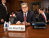 """United States Attorney General William P. Barr waits to give testimony before the US Senate Committee on the Judiciary on the """"Department of Justice's Investigation of Russian Interference with the 2016 Presidential Election"""" on Capitol Hill in Washington, DC on May 1, 2019.  The hearing will begin to answer questions about how the DOJ handled the conclusions from the Mueller probe.<br /> Credit: Ron Sachs / CNP<br /> (RESTRICTION: NO New York or New Jersey Newspapers or newspapers within a 75 mile radius of New York City)"""