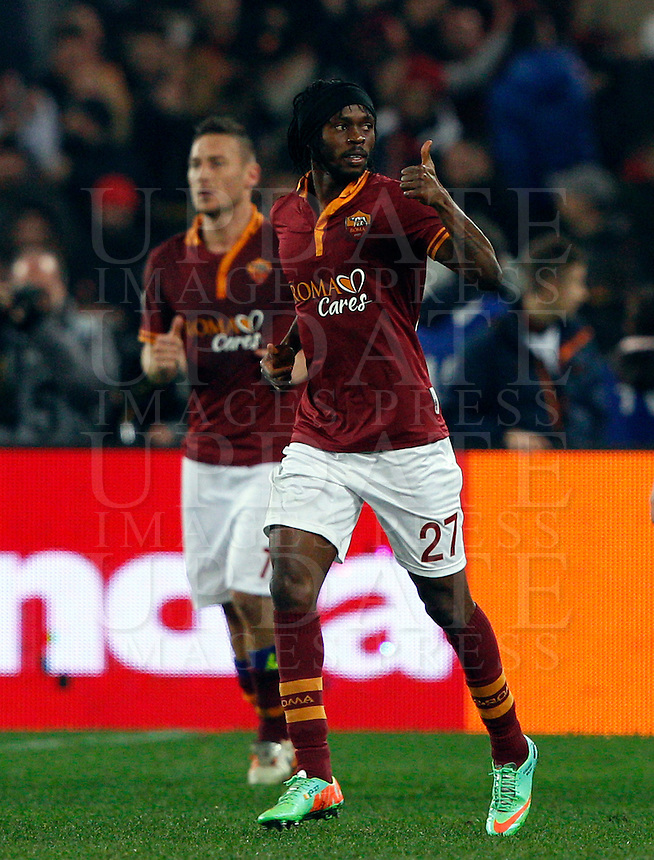 Calcio, quarti di finale di Coppa Italia: Roma vs Juventus. Roma, stadio Olimpico, 21 gennaio 2014.<br /> AS Roma forward Gervinho, of Ivory Coast, celebrates after scoring the winning goal during the Italian Cup round of eight final football match between AS Roma and Juventus, at Rome's Olympic stadium, 21 January 2014. AS Roma won 1-0.<br /> UPDATE IMAGES PRESS/Riccardo De Luca