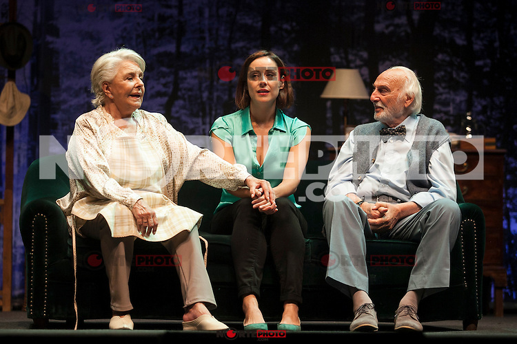 Spanish actress Lola Herrera, Luz Valdenebro and Argentinian actor Hector Alterio perform during `El lago dorado´ theater play in Madrid, Spain. August 17, 2015. (ALTERPHOTOS/Victor Blanco)