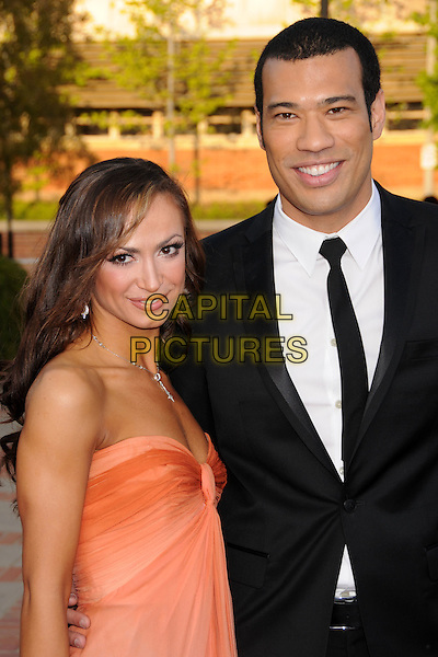 KARINA SMIRNOFF & MICHAEL YO.JCPenney Asian Excellence Awards 2008 at UCLA's Royce Hall, Westwood, California, USA..April 23rd, 2008.half length black suit jacket peach coral dress strapless pink orange .CAP/ADM/BP.©Byron Purvis/AdMedia/Capital Pictures.