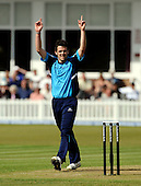 Leicester V Scotland, Clydesdale Bank 40, at Grace Road, Leicester - Aberdeen-born Gordon Goudie (West of Scotland) celebrates one of his 3 wickets, for 45 runs - Picture by Donald MacLeod 16.05.10 - mobile 07702 319 738