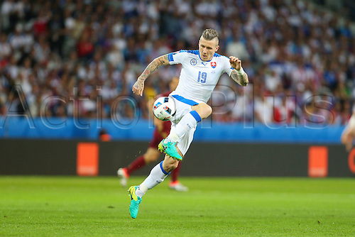 15.06.2016. Lille, France. UEFA Euro 2016 Group B soccer match Russia and Slovakia at Stade Pierre Mauroy in Lille Metropole, France, 15 June 2016.  Patrik Hrosovsky (slo)