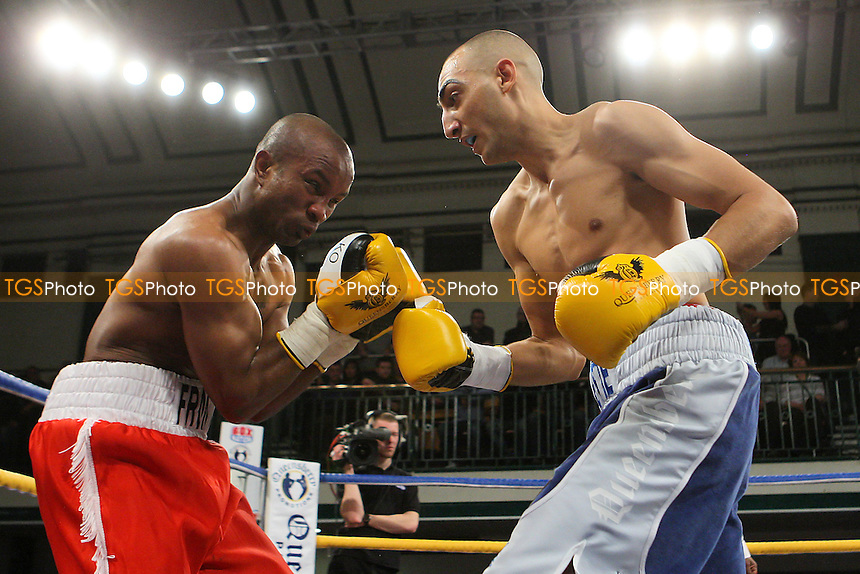 Bradley Skeete (blue shorts) defeats Michael Frontin in a Welterweight boxing contest at York Hall, Bethnal Green, promoted by Queensberry Promotions - 13/01/12 - MANDATORY CREDIT: Gavin Ellis/TGSPHOTO - Self billing applies where appropriate - 0845 094 6026 - contact@tgsphoto.co.uk - NO UNPAID USE.