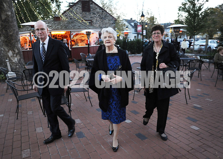 NEW HOPE, PA -  OCTOBER 28: Actress Angela Lansbury walks to the theater entrance after being presented with a commemorative brick to be installed in the walkway October 28, 2013 at the Bucks County Playhouse in New Hope, Pennsylvania.  Lansbury,  five-time Tony Award winning actress is the first inductee of the Bucks County Playhouse's Hall of Fame.(Photo by William Thomas Cain/Cain Images)