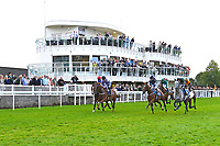 Horses leave the start of The Meachers Global Classic Supporting Gift Of Sight Handicap during Evening Racing at Salisbury Racecourse on 3rd September 2019