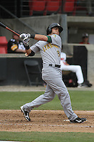 Lynchburg Hillcats second baseman Tommy La Stella #8 at bat during a game against the Carolina Mudcats at Five County Stadium on April 26, 2012 in Zebulon, North Carolina. Carolina defeated Lynchburg by the score of 8-5. (Robert Gurganus/Four Seam Images)
