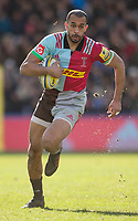 Harlequins' Aaron Morris  in action during todays match<br /> <br /> Photographer Bob Bradford/CameraSport<br /> <br /> Aviva Premiership Round 14 - Harlequins v Wasps - Sunday 11th February 2018 - Twickenham Stoop - London<br /> <br /> World Copyright &copy; 2018 CameraSport. All rights reserved. 43 Linden Ave. Countesthorpe. Leicester. England. LE8 5PG - Tel: +44 (0) 116 277 4147 - admin@camerasport.com - www.camerasport.com