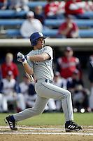 Chris Malec of the UC Santa Barbara Gouchos bats during a game at Eddy D. Field Stadium on February 7, 2003 in Malibu, California. (Larry Goren/Four Seam Images)