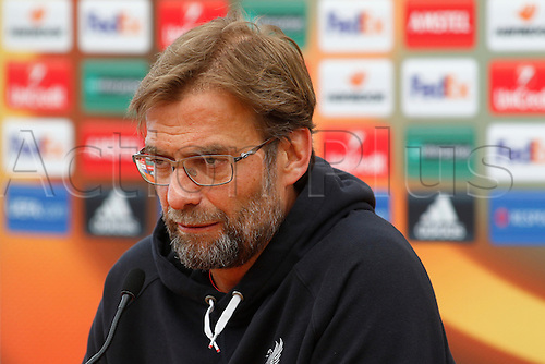 13.04.2016. Anfield, Liverpool, England. Europa League. Liverpool versus Borussia Dortmund Pre Match Press Conference and Training. Liverpool manager Jurgen Klopp speaking to the media at today's press conference at Liverpool's Melwood training ground ahead of tomorrow night's second of the Europa Cup quarter final versus Borussia Dortmund.