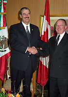 Montreal, April 20, 2001<br /> The President of the United Mexican States ; His Excellency Vincente Fox Quesada (left) pose for photographers with Quebec Premier, the Honorable Bernard Landry, April 20, 2001 in Montreal, CANADA.<br /> President Fox will attend the Quebec Summit of the Americas lopening today.<br /> Photo : Pierre Roussel / Liaison<br /> NOTE :  Incorrected D-1 JPEG