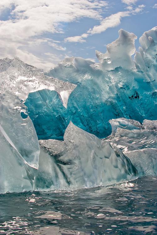 Alaska, Prince William Sound, Columbia Glacier, Blue ice, Iceberg detail, USA,