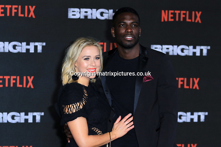 NON EXCLUSIVE PICTURE: MATRIXPICTURES.CO.UK<br /> PLEASE CREDIT ALL USES<br /> <br /> WORLD RIGHTS<br /> <br /> Love Island reality TV stars Gabby Allen and Marcel Somerville attending the UK premiere of Netflix's 'Bright', held on London's Southbank.<br /> <br /> DECEMBER 15th 2017<br /> <br /> REF: MES 172875