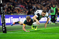 Luke Morahan of the Barbarians dives to score a try in the corner. Killik Cup International match, between the Barbarians and South Africa on November 5, 2016 at Wembley Stadium in London, England. Photo by: Patrick Khachfe / JMP