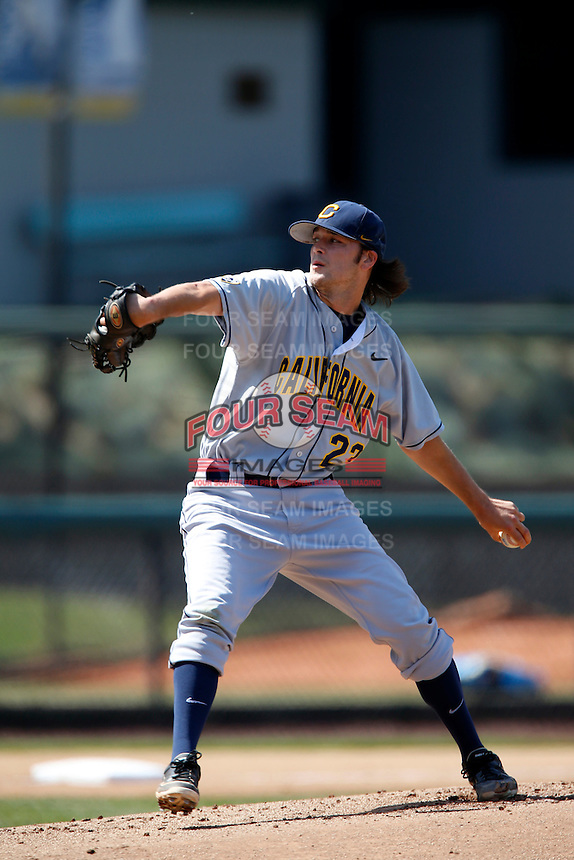 Justin Jones #23 of the California Golden Bears pitches against the UCLA Bruins at Jackie Robinson Stadium on March 23, 2013 in Los Angeles, California. (Larry Goren/Four Seam Images)