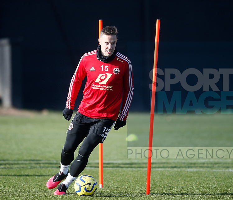 Phil Jagielka of Sheffield Utd during the Press Conference & Training at the Steelphalt Academy, Sheffield. Picture date: 7th February 2020. Picture credit should read: Simon Bellis/Sportimage