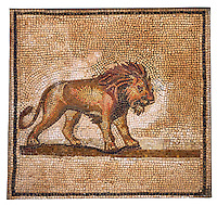Fragment of a Roman Mosaic Roman Mosaic from Dos Hermanos. Archaeological Museum, Seville, Spain.