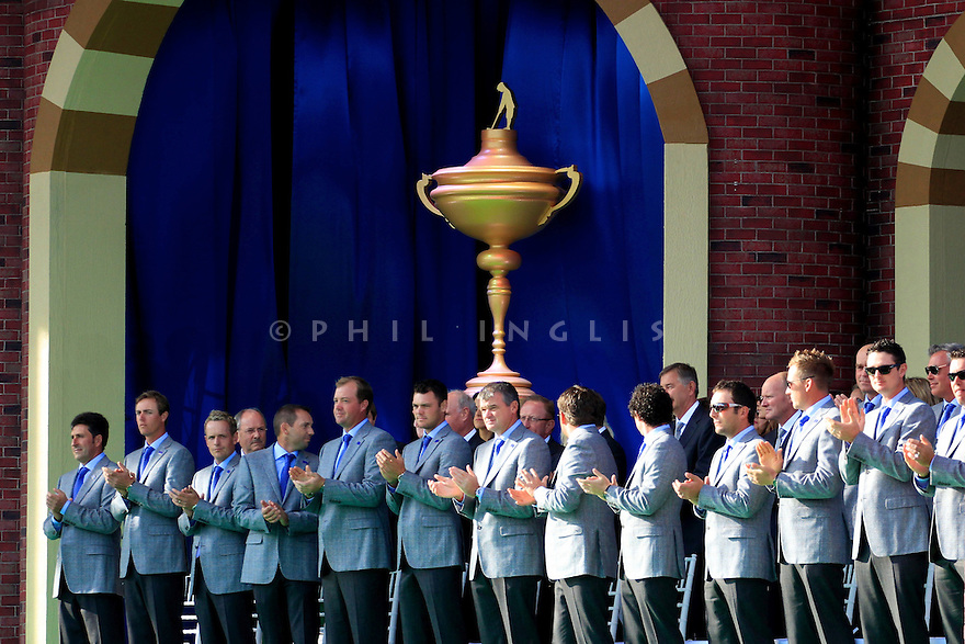 Team Europe during the opening ceremony of the 39th Ryder Cup matches, Medinah Country Club, Chicago, Illinois, USA.  28-30 September 2012 (Picture Credit / Phil Inglis)
