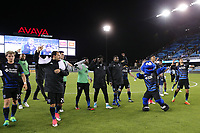 San Jose, CA - Friday April 14, 2017: San Jose Earthquakes  salutes the fans  during a Major League Soccer (MLS) match between the San Jose Earthquakes and FC Dallas at Avaya Stadium.