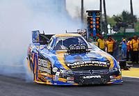 Mar 13, 2015; Gainesville, FL, USA; NHRA funny car driver Matt Hagan during qualifying for the Gatornationals at Auto Plus Raceway at Gainesville. Mandatory Credit: Mark J. Rebilas-