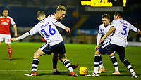 Fleetwood Town's Kyle Dempsey battles with Bury's Ryan Cooney, Chris Stokes and Callum Styles<br /> <br /> Photographer Alex Dodd/CameraSport<br /> <br /> The EFL Checkatrade Trophy Group B - Bury v Fleetwood Town - Tuesday 13th November 2018 - Gigg Lane - Bury<br />  <br /> World Copyright &copy; 2018 CameraSport. All rights reserved. 43 Linden Ave. Countesthorpe. Leicester. England. LE8 5PG - Tel: +44 (0) 116 277 4147 - admin@camerasport.com - www.camerasport.com