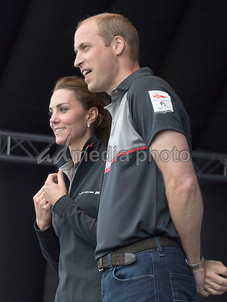 24 July 2016 - Princess Kate Duchess of Cambridge and Prince William Duke of Cambridge at the British Team at the America's Cup World Series Race in Portsmouth. The royal couple visited the home of the British competitors for the America's Cup before observing the ongoing competition. Photo Credit: ALPR/AdMedia
