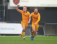 Newport County's Alex Samuel celebrates scoring his sides first goal with team-mate Sean Rigg<br /> <br /> Photographer Kevin Barnes/CameraSport<br /> <br /> The EFL Sky Bet League Two - Saturday 18th March 2017 - Newport County v Blackpool - Rodney Parade - Newport<br /> <br /> World Copyright &copy; 2017 CameraSport. All rights reserved. 43 Linden Ave. Countesthorpe. Leicester. England. LE8 5PG - Tel: +44 (0) 116 277 4147 - admin@camerasport.com - www.camerasport.com