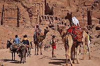 Camels and mules make up the transportation choices at Petra, Jordan