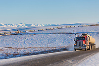 Truck on the Dalton Highway, also known as the Haul Road, which connects Fairbanks with Deadhorse, and the Arctic Ocean.