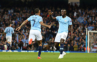 Manchester City's Raheem Sterling celebrates scoring his side's third goal with team-mate Benjamin Mendy<br /> <br /> Photographer Rich Linley/CameraSport<br /> <br /> UEFA Champions League - Quarter-finals 2nd Leg - Manchester City v Tottenham Hotspur - Wednesday April 17th 2019 - The Etihad - Manchester<br />  <br /> World Copyright © 2018 CameraSport. All rights reserved. 43 Linden Ave. Countesthorpe. Leicester. England. LE8 5PG - Tel: +44 (0) 116 277 4147 - admin@camerasport.com - www.camerasport.com