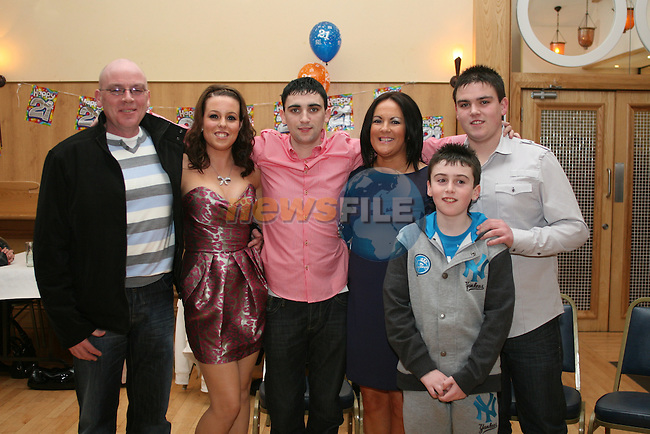 Karl Dyas with his family, Frank, Martina, Adam and Aaron and girlfriend, Rachel Williams at his 21st in The Thatch...Photo NEWSFILE/Jenny Matthews.(Photo credit should read Jenny Matthews/NEWSFILE)....This Picture has been sent you under the condtions enclosed by:.Newsfile Ltd..The Studio,.Millmount Abbey,.Drogheda,.Co Meath..Ireland..Tel: +353(0)41-9871240.Fax: +353(0)41-9871260.GSM: +353(0)86-2500958.email: pictures@newsfile.ie.www.newsfile.ie.FTP: 193.120.102.198.